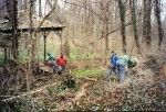 March, 2001: a work party begins removing debris.