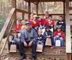 Tiger Scout Troop 231 learns about Comey's Lake on a November 3rd hike led by Bob Bevilacqua (pictured) and Mary Ellen Bush.