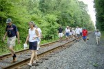 Our intrepid July 4th hikers make tracks on the Conrail line north of Maple Street to see... 