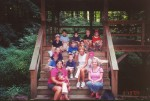A local Cub Scout troop pauses at the Teahouse during their September 19th hike around Comey's Lake.