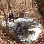 Bob Bevilacqua shows the nearly-complete stone installation along Woodbury-Glassboro Road.
