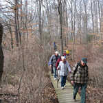 Trailmaster Frank Eggert leads a group of hikers across a small marsh on the Mantua Creek Trail during the 4th Annual Five Mile Hike on February 9th.