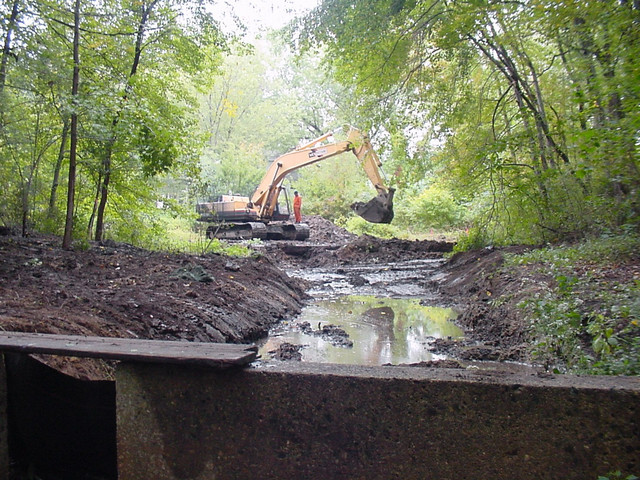 The excavator must be moved carefully to avoid sinking into the mud!