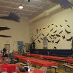 Vulture cutouts and paintings decorated the walls, while vulture mobiles hung from the ceiling.