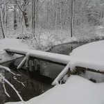 Trail bridge at the south end of Mantua Creek Island